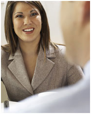 woman speaking to client